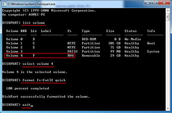 format-raw-to-fat32-diskpart